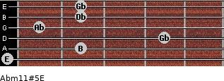 Abm11#5/E for guitar on frets 0, 2, 4, 1, 2, 2