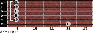 Abm11#5/E for guitar on frets 12, 9, 9, 9, 9, 9