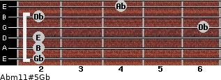 Abm11#5/Gb for guitar on frets 2, 2, 2, 6, 2, 4