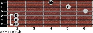 Abm11#5/Gb for guitar on frets 2, 2, 2, 6, 5, 4