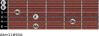 Abm11#5/Gb for guitar on frets 2, 4, 2, 1, 0, 0