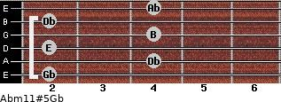 Abm11#5/Gb for guitar on frets 2, 4, 2, 4, 2, 4