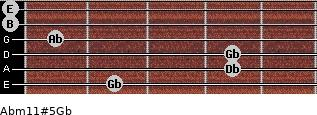 Abm11#5/Gb for guitar on frets 2, 4, 4, 1, 0, 0