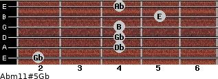 Abm11#5/Gb for guitar on frets 2, 4, 4, 4, 5, 4
