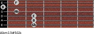 Abm13#5/Gb for guitar on frets 2, 2, 2, 1, 0, 1