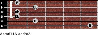 Abm6/11/A add(m2) for guitar on frets 5, 2, 1, 1, 2, 1