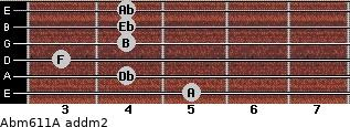 Abm6/11/A add(m2) for guitar on frets 5, 4, 3, 4, 4, 4
