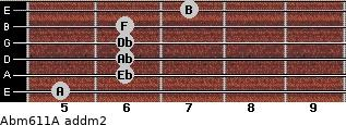 Abm6/11/A add(m2) for guitar on frets 5, 6, 6, 6, 6, 7