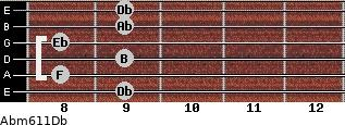 Abm6/11/Db for guitar on frets 9, 8, 9, 8, 9, 9
