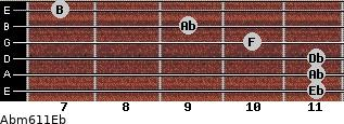 Abm6/11/Eb for guitar on frets 11, 11, 11, 10, 9, 7