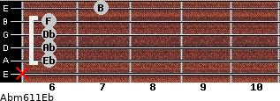 Abm6/11/Eb for guitar on frets x, 6, 6, 6, 6, 7