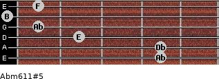 Abm6/11#5 for guitar on frets 4, 4, 2, 1, 0, 1