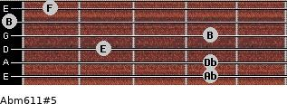 Abm6/11#5 for guitar on frets 4, 4, 2, 4, 0, 1