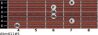 Abm6/11#5 for guitar on frets 4, 7, 6, 6, 6, 7