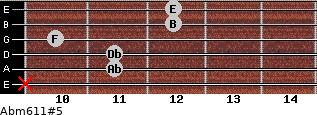 Abm6/11#5 for guitar on frets x, 11, 11, 10, 12, 12