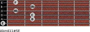 Abm6/11#5/E for guitar on frets 0, 2, 2, 1, 2, 1