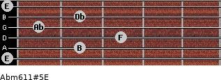 Abm6/11#5/E for guitar on frets 0, 2, 3, 1, 2, 0