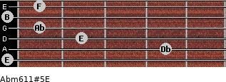 Abm6/11#5/E for guitar on frets 0, 4, 2, 1, 0, 1