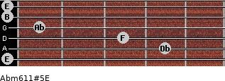 Abm6/11#5/E for guitar on frets 0, 4, 3, 1, 0, 0