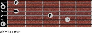 Abm6/11#5/E for guitar on frets 0, 4, 3, 1, 0, 1