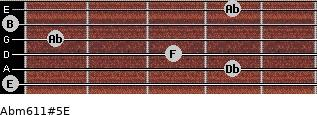 Abm6/11#5/E for guitar on frets 0, 4, 3, 1, 0, 4