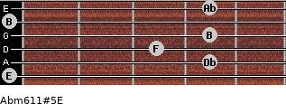 Abm6/11#5/E for guitar on frets 0, 4, 3, 4, 0, 4