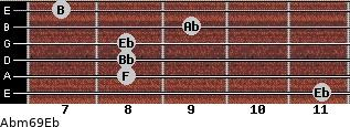 Abm6/9/Eb for guitar on frets 11, 8, 8, 8, 9, 7
