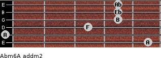 Abm6/A add(m2) for guitar on frets 5, 0, 3, 4, 4, 4