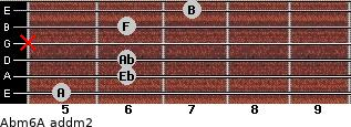 Abm6/A add(m2) for guitar on frets 5, 6, 6, x, 6, 7
