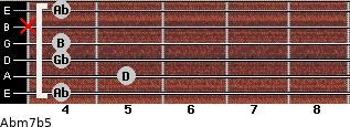 Abm7b5 for guitar on frets 4, 5, 4, 4, x, 4