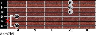 Abm7b5 for guitar on frets 4, x, 4, 7, 7, 7