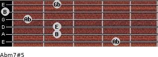 Abm7#5 for guitar on frets 4, 2, 2, 1, 0, 2