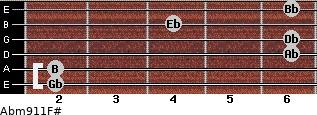 Abm9/11/F# for guitar on frets 2, 2, 6, 6, 4, 6