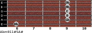 Abm9/11#5/A# for guitar on frets 6, 9, 9, 9, 9, 9