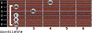 Abm9/11#5/F# for guitar on frets 2, 2, 2, 3, 2, 4