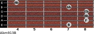 Abm9/13/B for guitar on frets 7, 8, 8, 8, 7, 4