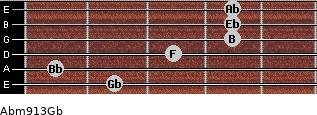 Abm9/13/Gb for guitar on frets 2, 1, 3, 4, 4, 4