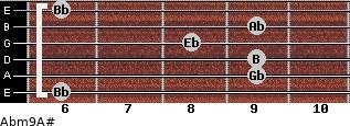 Abm9/A# for guitar on frets 6, 9, 9, 8, 9, 6