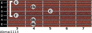 Abmaj11/13 for guitar on frets 4, 4, 3, 5, 4, 3