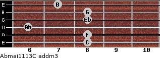 Abmaj11/13/C add(m3) guitar chord