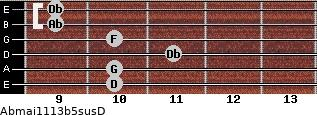 Abmaj11/13b5sus/D for guitar on frets 10, 10, 11, 10, 9, 9