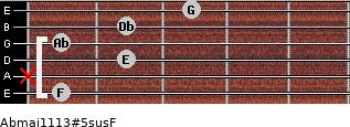 Abmaj11/13#5sus/F for guitar on frets 1, x, 2, 1, 2, 3