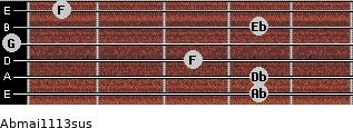 Abmaj11/13sus for guitar on frets 4, 4, 3, 0, 4, 1
