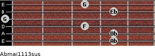 Abmaj11/13sus for guitar on frets 4, 4, 3, 0, 4, 3