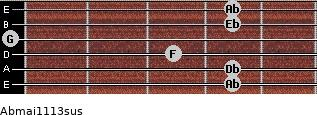 Abmaj11/13sus for guitar on frets 4, 4, 3, 0, 4, 4