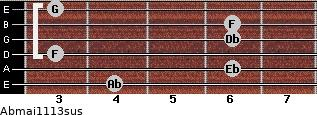 Abmaj11/13sus for guitar on frets 4, 6, 3, 6, 6, 3