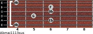 Abmaj11/13sus for guitar on frets 4, 6, 5, 6, 6, 4