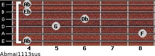 Abmaj11/13sus for guitar on frets 4, 8, 5, 6, 4, 4