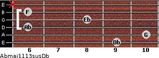 Abmaj11/13sus/Db for guitar on frets 9, 10, 6, 8, 6, x