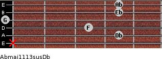 Abmaj11/13sus/Db for guitar on frets x, 4, 3, 0, 4, 4